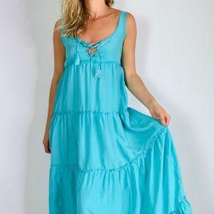 CALYPSO ST BARTH Turquoise Tierred Maxi Dress xs